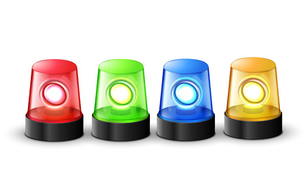 Red green blue and yellow flashing police beacon alarm. Police light siren emergency equipment. Danger flash ambulance beacon.
