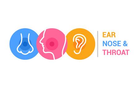 Modèle de logo de médecin ORL. Clinique de médecin de gorge d'oreille nez. Illustration d'oto-rhino-laryngologie de santé buccale.