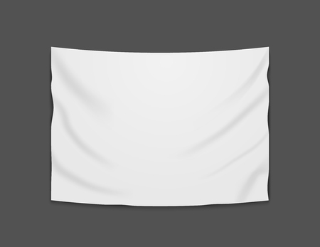 White blank vector banner textile. Empty hanging fabric banner illustration design. Illusztráció