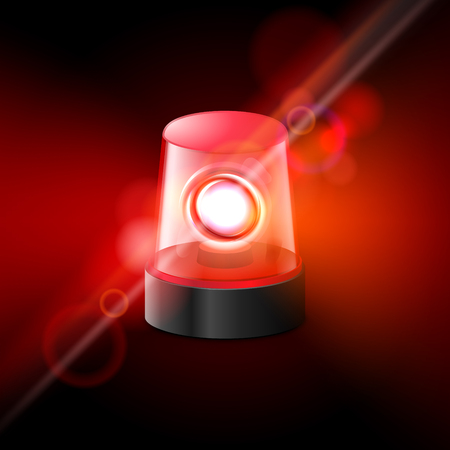 Red flashing police beacon alarm. Police light siren emergency equipment. Danger flash ambulance beacon.