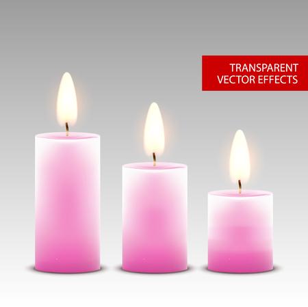 Decoración aislada de cera de vela de vector. Llama de vela para celebración. Luz de vela realista brillante en transparente.