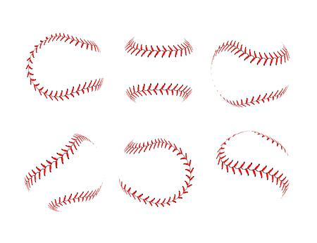 Baseball lace ball illustration isolated symbol set. Vector baseball background sport design.