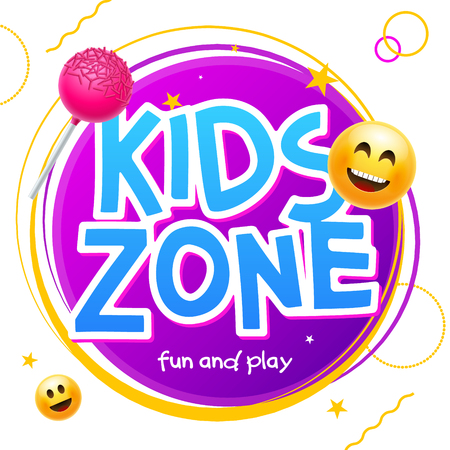 Kids Zone game banner design background. Playground vector child zone sign. Childhood fun room area.  イラスト・ベクター素材