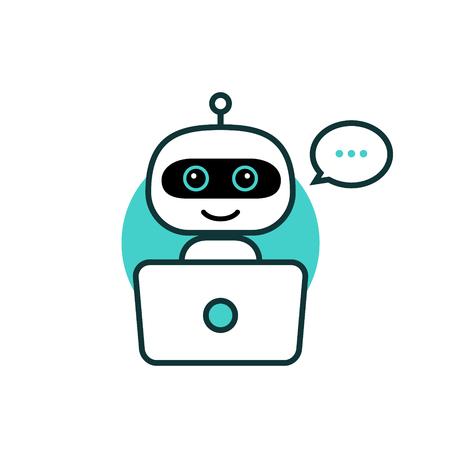 Icône de robot. Chat Bot signe pour le concept de service d'assistance. Style plat de personnage de chatbot.