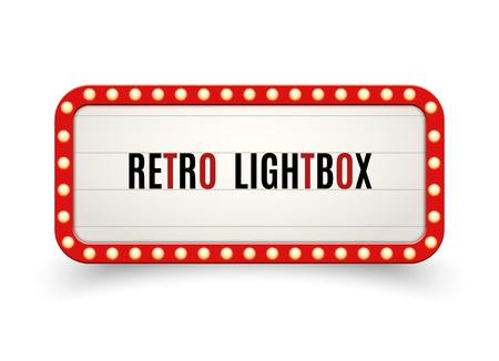 Cadre vintage de panneau d'affichage rétro lightbox. Boîte à lumière de bannière vintage. La décoration d'enseigne de cinéma ou de spectacle fait de la publicité. Vecteurs
