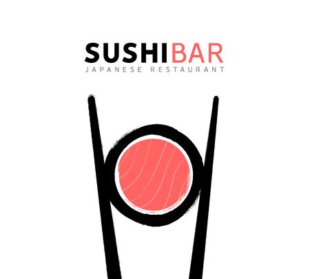 Sushi logo fish food japan restaurant. Japanese seafood logo asian dinner. Illustration