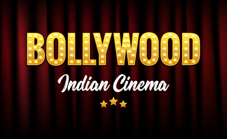 Bollywood Indian Cinema Film Banner. Indian Cinema Logo Sign Design Glowing Element with Stage and Curtains. Illustration