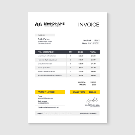 Invoice minimal design template. Bill form business invoice accounting.