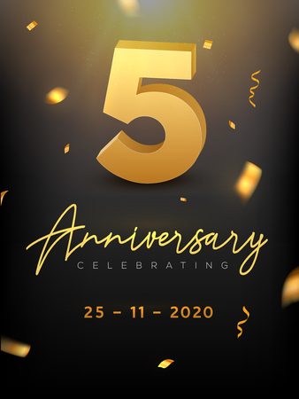 5 Years Anniversary Celebration event. Golden Vector birthday or wedding party congratulation anniversary. Illustration