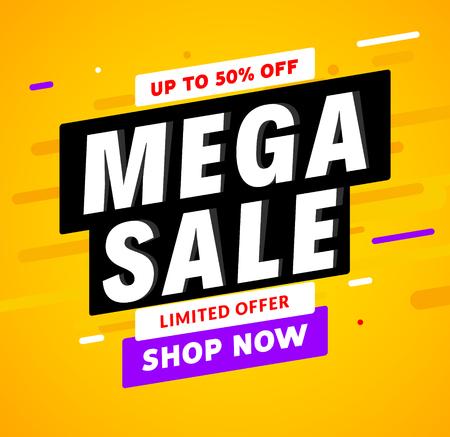 Mega Sale banner template design. Big sale special offer promotion discount for business.