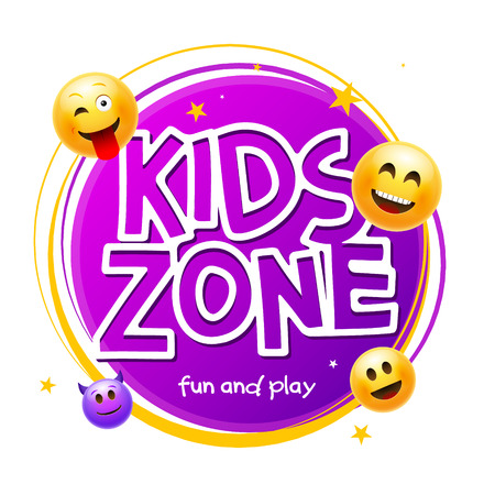 Kids Zone game banner design background. Playground vector child zone sign. Childhood fun room area. Vektoros illusztráció