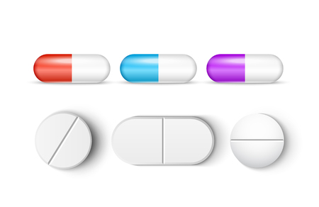 Pills medicine capsule vector icon isolated set. Pharmacy pill treatment painkiller or vitamin medicine. Ilustracja