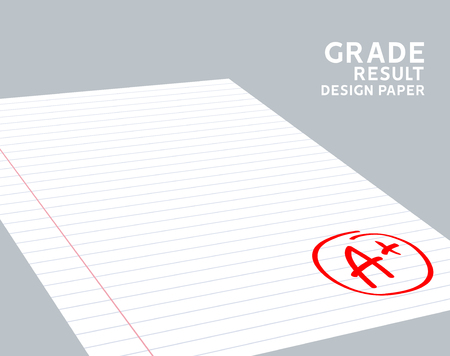 Grade result A plus. Hand drawn vector grade A plus in red circle. Test exam mark report.