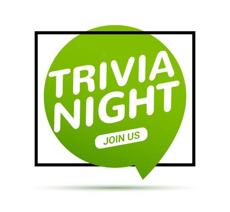 Trivia night icon speech bubble retro sign. Play brain game fun learn vintage symbol.