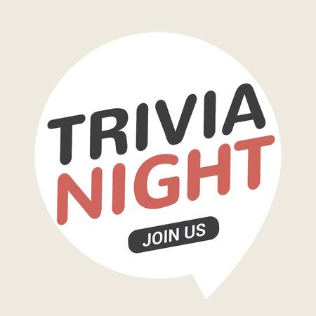 Trivia night icon speech bubble retro sign. Play brain game fun learn vintage symbol. Illustration