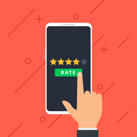 Hand and five stars customer rating on smartphone. Business success five stars rating feedback ranking opinion.