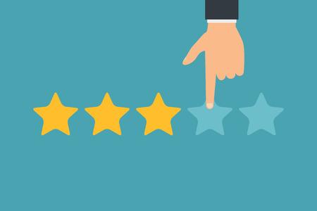 Note des clients à la main et cinq étoiles. Réussite de l'entreprise cinq étoiles évaluation des commentaires classement opinion.