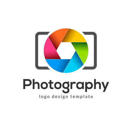 Photography logo template modern vector creative symbol. Shutter lens camera icon design element. Çizim
