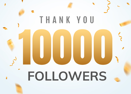 Thank you 10000 followers design template social network number anniversary. Social users golden number friends thousand celebration. Reklamní fotografie - 116379164