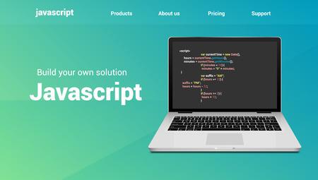 Javascript programming code technology banner. Javascript language software coding development website design.