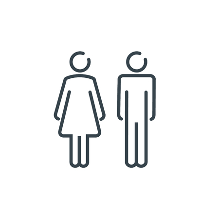 WC sign restroom icon. Toilet bathroom male and female symbol. Wc isolated line pictogram.