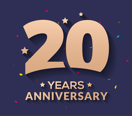 20 year anniversary logo number. Gold vector 20th corporate anniversary.
