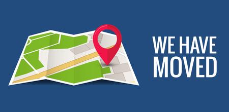 Nous avons déplacé le nouvel emplacement de l'icône du bureau. Carte d'accueil d'entreprise d'annonce de changement d'adresse de déplacement d'adresse.