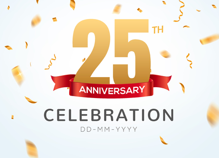 25 Anniversary gold numbers with golden confetti. Celebration 25th anniversary event party template.