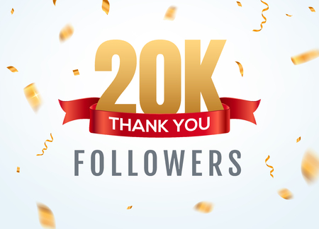 Thank you 20000 followers design template social network number anniversary. Social 2k users golden number friends thousand celebration. Ilustrace