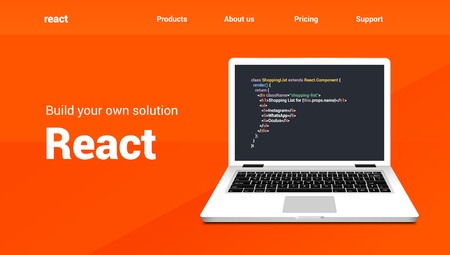 React programming code technology banner. React language software coding development website design.  イラスト・ベクター素材