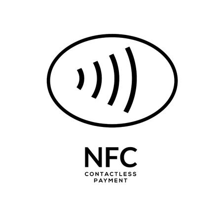 Logo de signe de paiement sans fil NFC sans contact. Concept de vecteur de paiement par carte de crédit nfc.