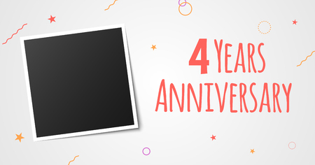 4 years anniversary photo frame card. 4 years anniversary vector elegant template design. Illustration