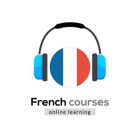 French language learning logo icon with headphones. Creative french class fluent concept speak test and grammar. Illustration