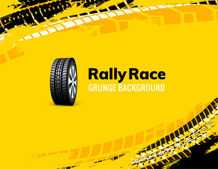 Fond de voiture de saleté de pneu de course de rallye grunge. Illustration vectorielle de véhicule tout-terrain roue camion. Vecteurs