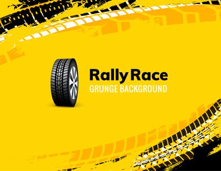 Fondo de coche de suciedad de neumáticos de carrera de rally. Ilustración de vector de vehículo de camión de rueda campo a través. Ilustración de vector
