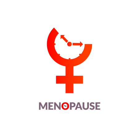 Menopause icon awareness. Woman fertility age clock menstrual period.