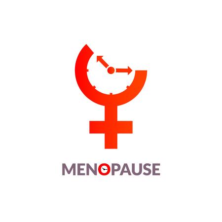 Menopause icon awareness. Woman fertility age clock menstrual period.