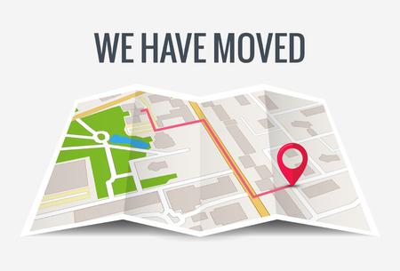 Przenieśliśmy nową lokalizację ikony biura. Adres, przenoszenie, zmiana lokalizacji, ogłoszenie o firmie, mapa główna firmy. Ilustracje wektorowe
