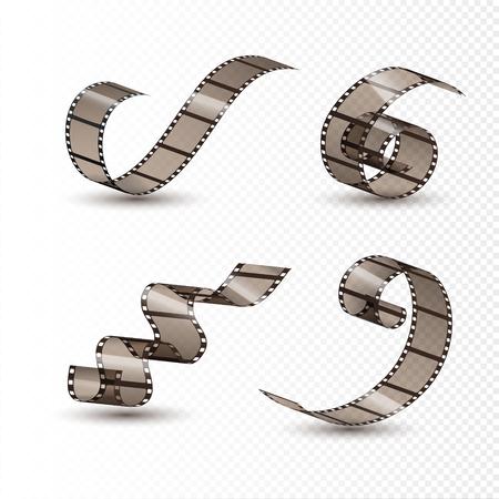 Film strip roll. Cinema tape set design. Filmstrip movie entertainment. Cinematography frame.