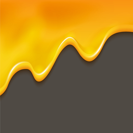 Dripping honey waves on white isolated orange liquid dessert border. Sweet food background syrup.