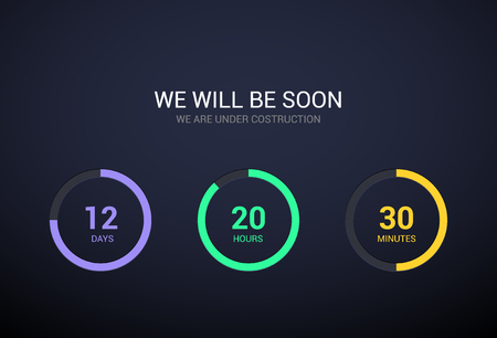 Countdown timer design for website. Clock timer design on dark background. Coming soon app modern flat counter.