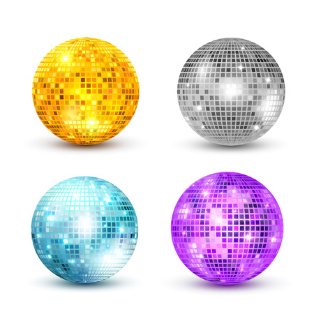 Disco ball isolated set illustration. Night Club party light element. Bright mirror golden ball design for disco dance club.
