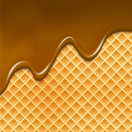 Wafer and flowing chocolate background. Waffle texture sweet dessert illustration with chocolate.