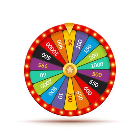 Koło fortuny gra w kasynie. Szczęśliwa nagroda wirowania jackpot loterii tło. Koło fortuny na białym tle.