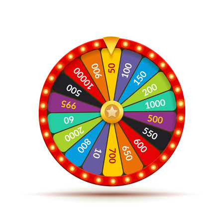 Wheel fortune casino game. Lucky prize spin jackpot lottery background. Fortune wheel isolated.