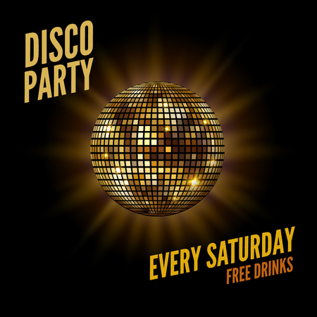 Disco dance party background flyer poster. Vector party template design. Light disco ball music.