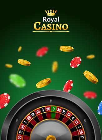 Casino roulette vector wheel poker backgorund. Casino game table roulette online banner jackpot invitaion.