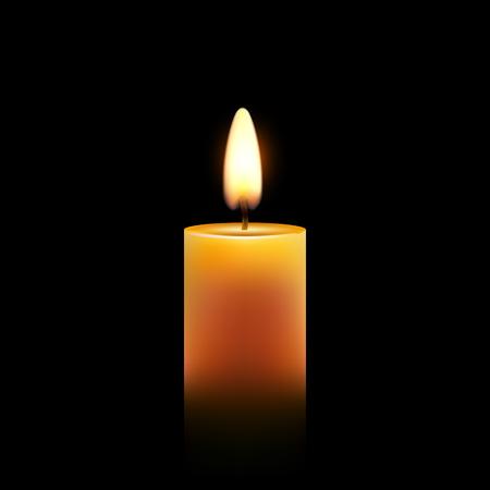 Wektor świeca wosk na białym tle ozdoba. Płomień przy świecach do świętowania. Świecące realistyczne światło świecy na przezroczystym.