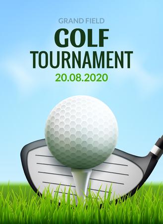 Volantino modello poster torneo di golf. Pallina da golf su erba verde per la concorrenza. Disegno vettoriale di sport club.