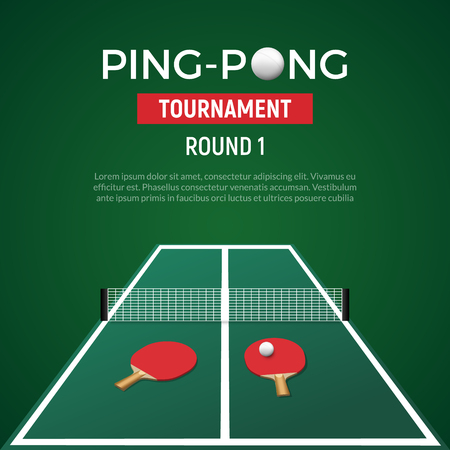 Ping pont tennis tournament poster background. Table tennis with ball racket championship green illustration.